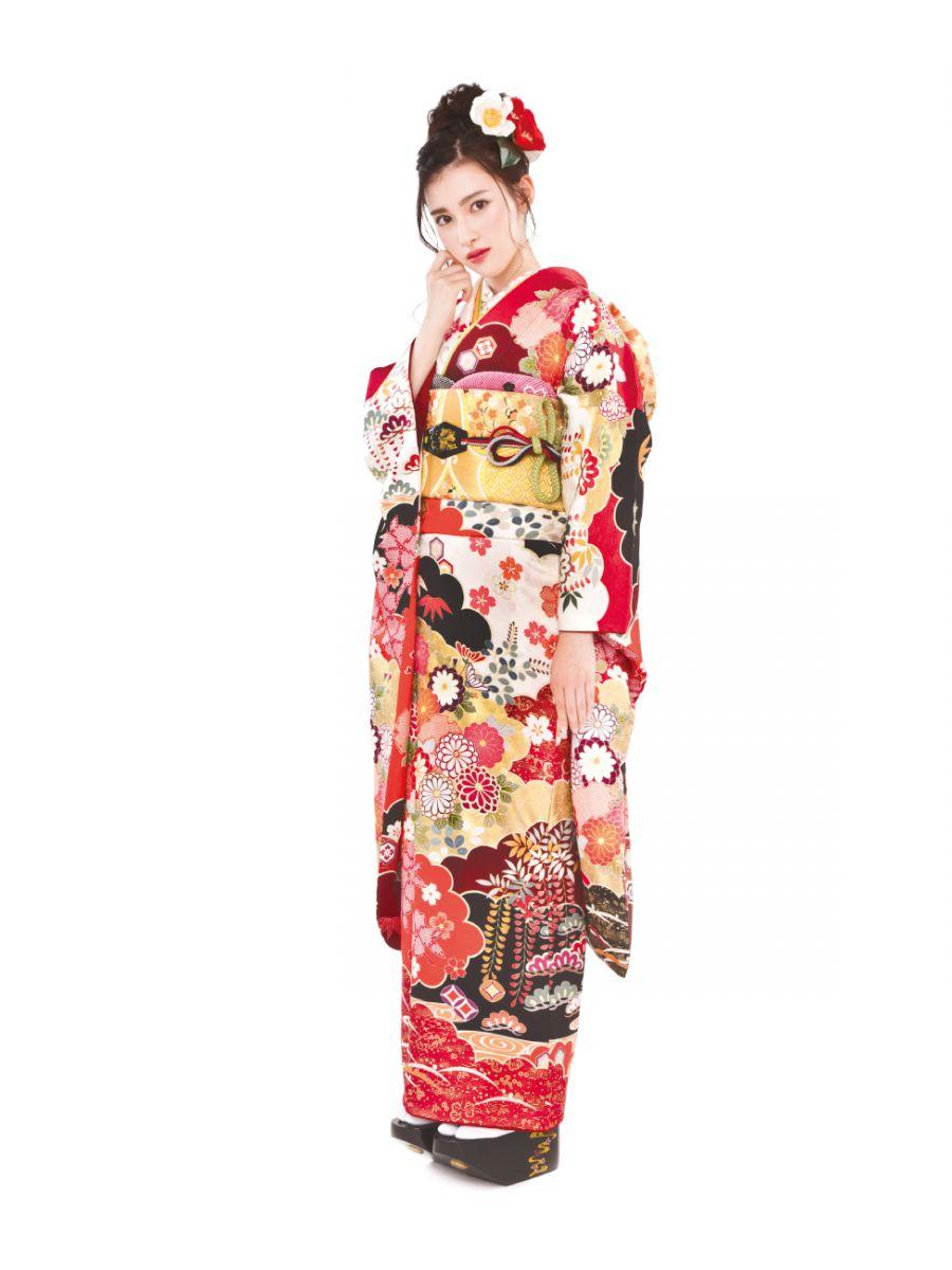 振袖コレクションNO:N101/幾重にも重なった雲取りに、品格あふれる饅頭菊の柄。見る角度によっては表情を変える紅白の地色が、ワンランク上のスタイルを演出。