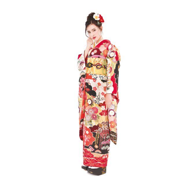 振袖NO:N101/幾重にも重なった雲取りに、品格あふれる饅頭菊の柄。見る角度によっては表情を変える紅白の地色が、ワンランク上のスタイルを演出。