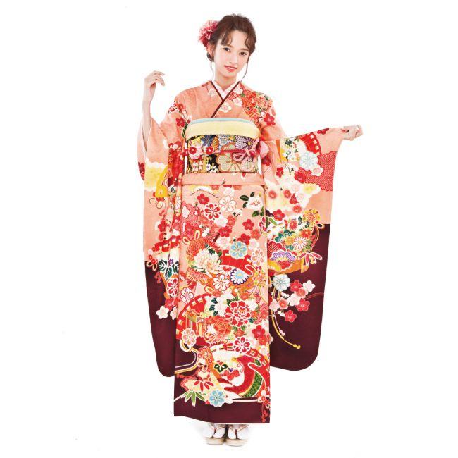 振袖NO:N202/桃色から海老茶へと変化する、クラシカルな配色がすらりとした着姿を演出。特別な1日だからこそ、可愛いだけじゃない上品な装いに。